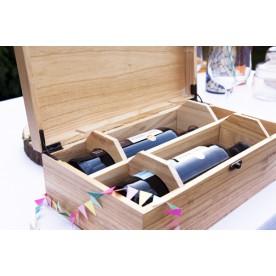 Gepersonaliseerde wijnkist, wijnkist graveren | Luxe wijnkist graveren 2 vaks