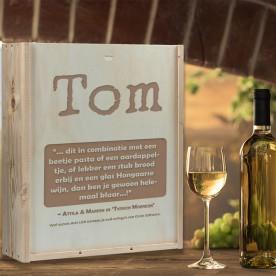 Gepersonaliseerde wijnkist, wijnkist graveren | Wijnkist graveren 3 vaks