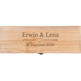 Gepersonaliseerde wijnkist, wijnkist graveren | Luxe wijnkist graveren 1 vaks